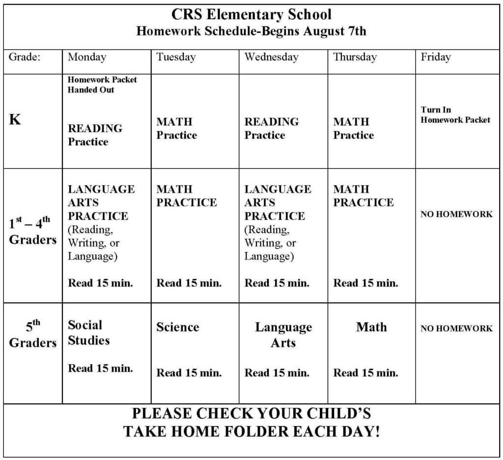 CRS Homework Schedule