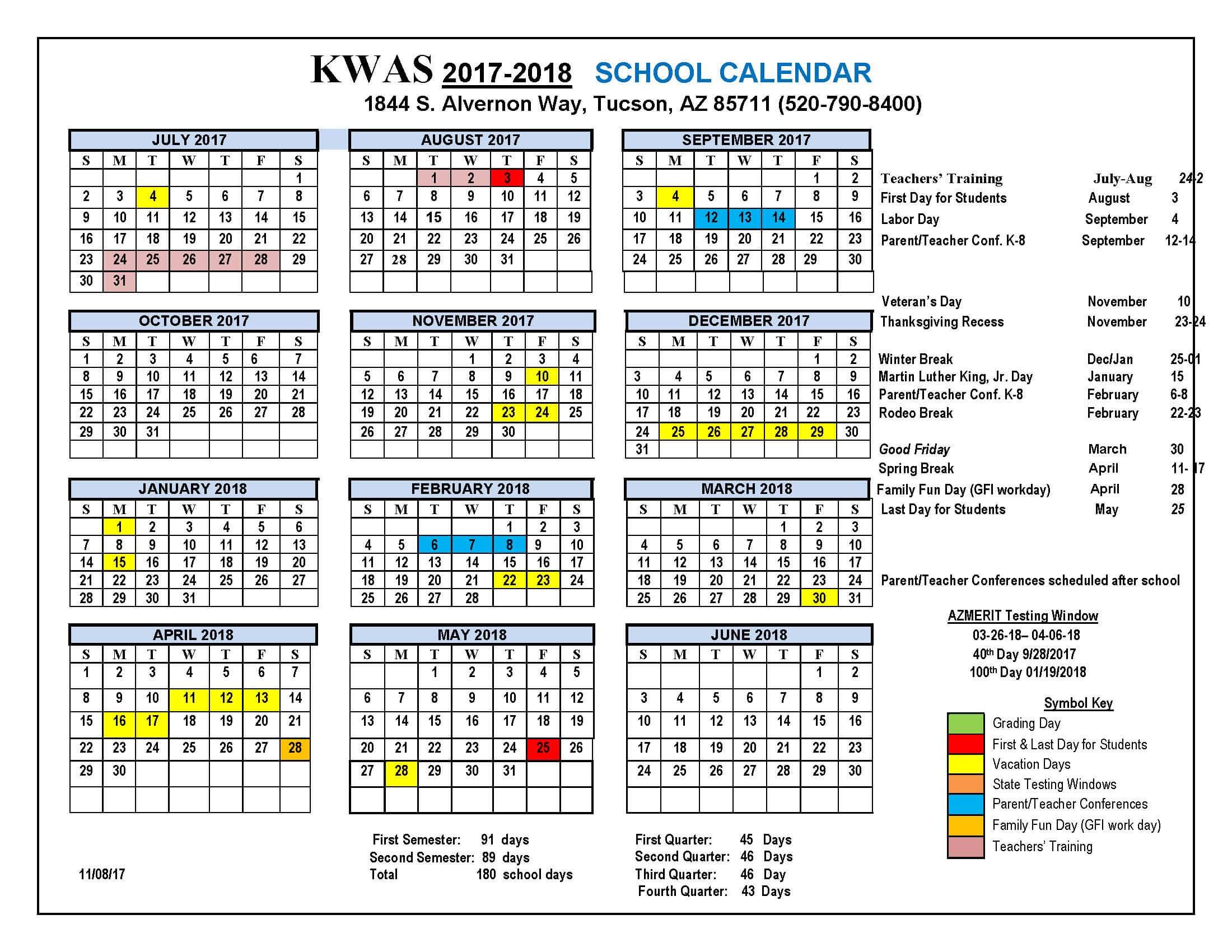KWAS Printable Calendar 2017-2018