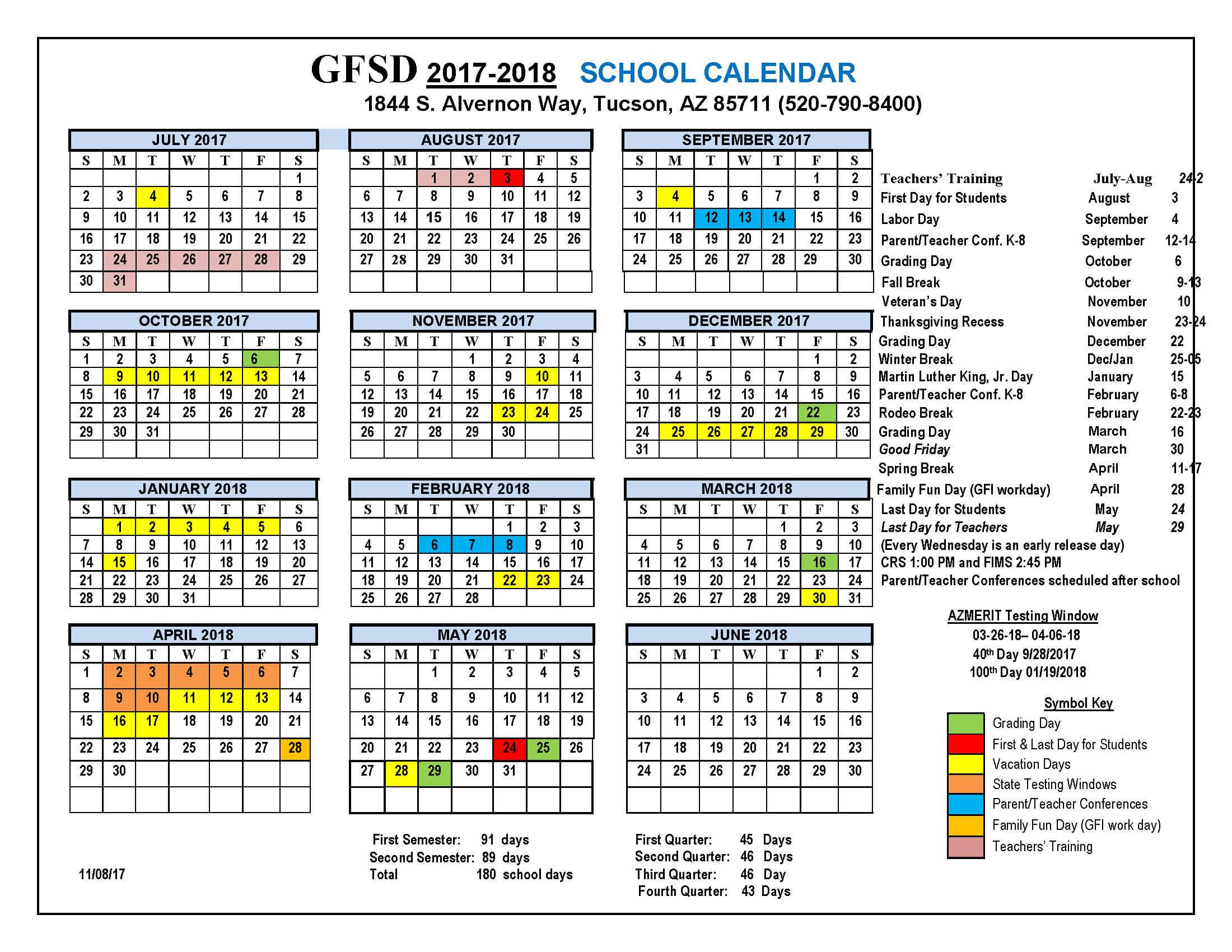 Griffin Foundation School Calendar 2017-2018