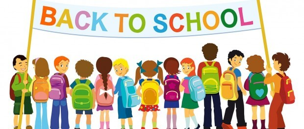 Back to school banner with children in a line