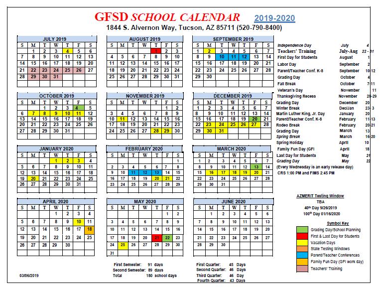 Tusd Calendar 2020 GFSD Calendar